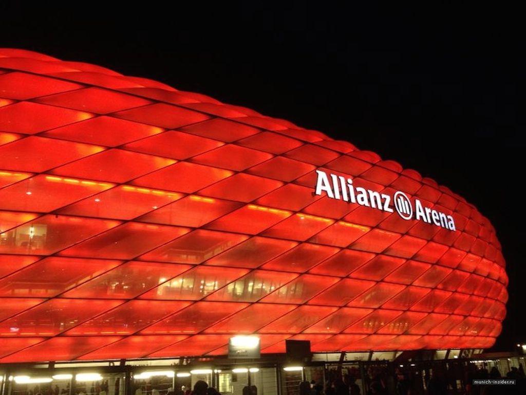 Обои альянц арена, мюнхен, подсветка, германия, стадион. Города foto 9